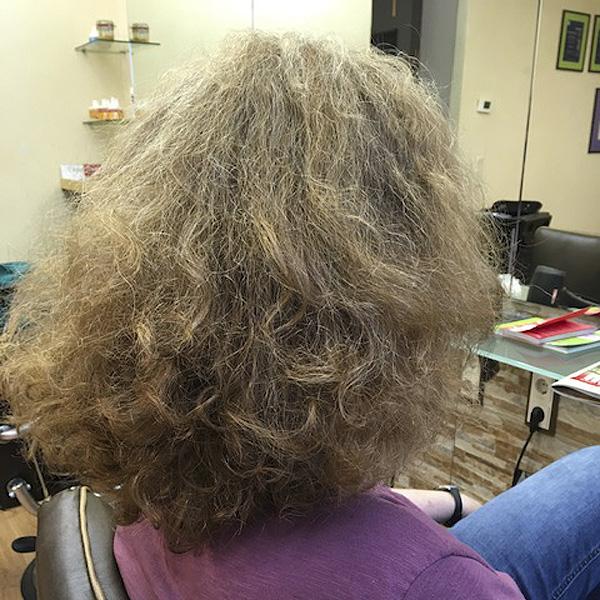 Vor dem Curlsys Haarschnitt